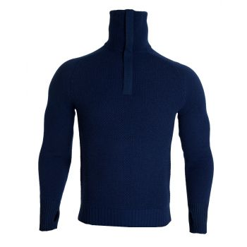 Tufte Mens Bambull Blend Half-Zip Sweater - Blå