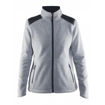 Noble Zip Jacket Heavy Knit Fleece Dame - Grey Mel