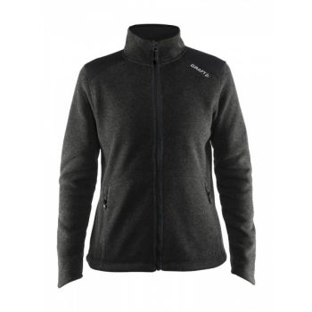Noble Zip Jacket Heavy Knit Fleece Dame - Black Me