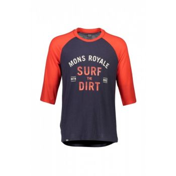 Redwood 3/4 Raglan T Surf - Bright Red / 9 Iron