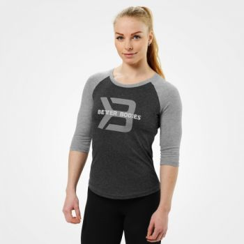 Womens Baseball Tee - Antracite Melange
