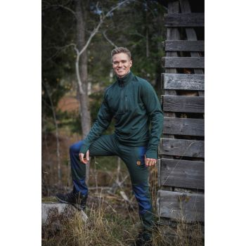 Mens Wool Fleece Half-Zip - Deep Forest Melange