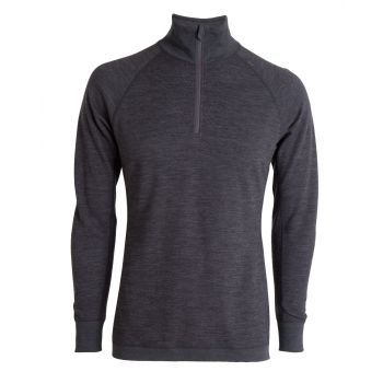 Mens Bambull Half Zip - Dark Grey Melange