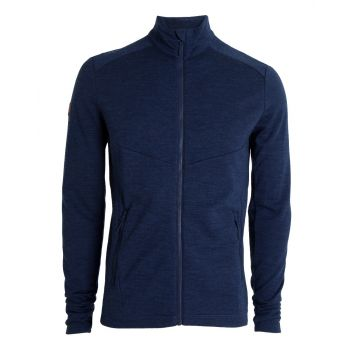 Mens Wool Fleece Jacket - Dress Blues Melange