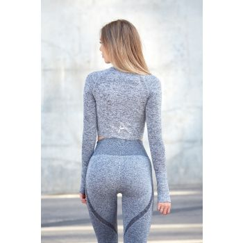 Dark Grey Ocean Crop Long Sleeve