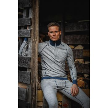 Mens Bambull Half Zip - Grey Melange / Sea