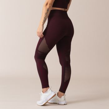 Queen Mesh Seamless High Waist Tights - Burgundy