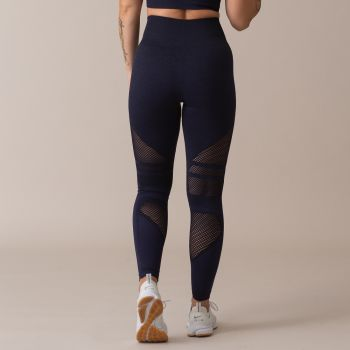 Queen Mesh Seamless High Waist Tights - Navy
