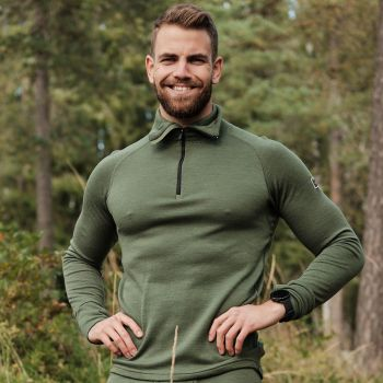 Expedition Zip Neck Ullgenser Herre - Grønn